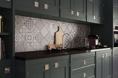 Patchwork kitchen tiles and artistic backsplash ideas Kitchen Wall Tiles, Wall And Floor Tiles, Kitchen Backsplash, Backsplash Ideas, Patterned Kitchen Tiles, Grey Tiles, Patchwork Kitchen, Patchwork Tiles, Black Kitchens