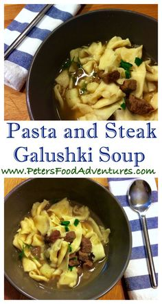 Freshly pinched pasta pieces in an easy stew or soup. Hearty, rustic, filling and delicious. Galushki - Fresh Pasta and Steak Soup (Галушки - Суп с Галушками)