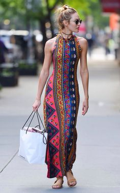 Candice Swanepoel in Stylish Summer Long Dress- Out in NYC - July Candice Swanepoel Style, Outfits and Clothes. Hippie Style, Hippie Chic, Tribal Style, Bohemian Style, Mode Outfits, Casual Outfits, Style Outfits, Casual Dresses, Look Fashion