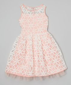 This Ivory & Coral Sheer Flower Dress - Girls by Speechless is perfect! #zulilyfinds