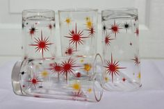 Set of 4 Vintage Atomic Starburst Glasses/ by OurBackRoadsVintage, $20.00