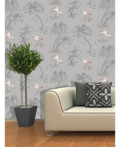 Stunning flamingo themed wallpaper, features subtle mica highlights.