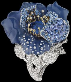 Dior Fine Jewellery le Bal des roses bal Bleu Nuit ring white and yellow gold, diamonds, grey diamonds, sapphires, blue chalcedony and tanzanites. Via The Jewellery Editor.