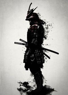kämpfer tattoo, schwarz weiße zeichnung, mann, katana, helm