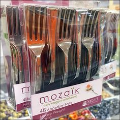 If your Food-to-Go Buffet is gourmet delights, upsell from ordinary plastic cutlery with a silver-finish Mozaik Appetizer Fork Cross-Sell For Food-to-Go. Food To Go, Cutlery, Fork, Knives, Buffet, Appetizers, Entertaining, Tableware, Gourmet