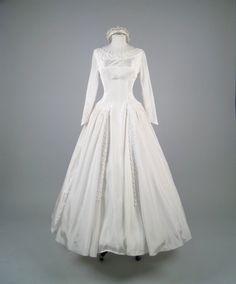 Vintage 1950s silk wedding dress with matching crown.