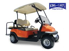 Orange Club Car golf cart