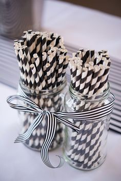 Many regular readers know that I adore a DIY creative wedding, especially country village hall affairs. But this wedding is a little different with a modern take on the classic. Think spots, stripes a Black And White Party Decorations, Black White Parties, Black And White Balloons, Black And White Theme, Black And White Ribbon, White Roses Wedding, Gold Wedding Colors, Striped Wedding, Wedding Black