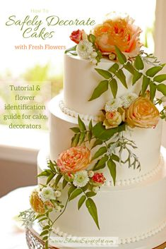 Learn to clean & prepare fresh flowers to safely decorate you cakes. 26 page Flower Identification G Floral Wedding Cakes, Floral Cake, Fresh Flower Cake, Flower Cakes, Flowers For Cakes, Plain Cake, Cake Decorating Videos, Decorating Tips, Do It Yourself Wedding