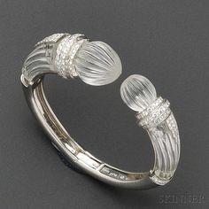 Platinum, Rock Crystal, and Diamond Bracelet, David Webb | Sale Number 2641B, Lot Number 469 | Skinner Auctioneers