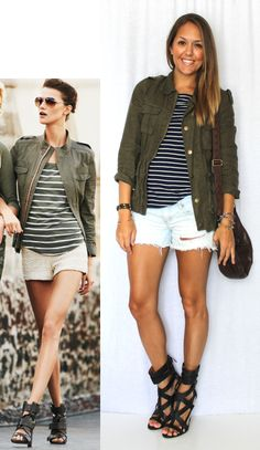 Love the blue and white striped with the jacket. Skip the shorts.