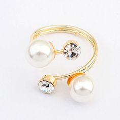 Engraved White Pearl Decorated Simple Design Alloy Korean Rings :Asujewelry.com