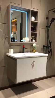 Small Bathroom Cabinets, Small Bathroom Mirrors, Bathroom Mirror Design, Washroom Design, Modern Bathroom Design, Bathroom Interior Design, Bathroom Storage, Modern Small Bathrooms, Bathroom Mirror Cabinet