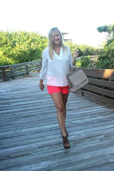 Neon Pink Pleated Shorts, #neon, @Express_life, #pleated, #bright, #summer, #OOTD, #blouse, #Francecas, @Aldo C C, #aztec, #wedges, #brown, @Piperlime®®, #handbag, @ShoeDazzle