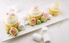 Wallpaper food, roses, plate, buds, cream, cakes, sweet, cupcakes, marshmallows