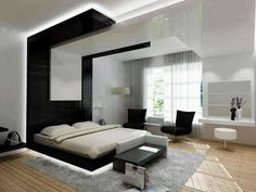 Stunning Modern Bedroom Black Color With Wooden Flooring Unfinished Plus Bedroom Bench Covered With Leather White Curtain And Black Sofa modern bedroom interior designs gallery with modern furniture dark theme Bedroom design Bedroom Design 2017, White Bedroom Design, Master Bedroom Interior, Modern Bedroom Decor, Contemporary Bedroom, Bedroom Ideas, Bedroom Designs, Modern Bedrooms, Bedroom Black