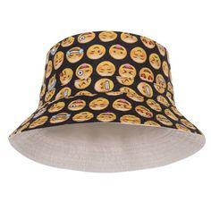 8a6bce94d8a97 Emoticon Black Print Bucket Hat Emoticon