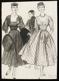 Fashion drawing | Fromenti, Marcel  1953-54 Published in weekly magazine 'The Lady'