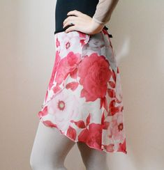 Red Flowers Ballet Wrap Skirt  Dancewear  by ReverenceDancewear