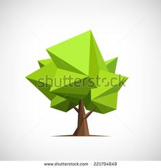 Conceptual polygonal tree. Abstract vector Illustration, low poly style. Stylized design element. Background design for banner, poster, flyer, cover, brochure. Logo design.