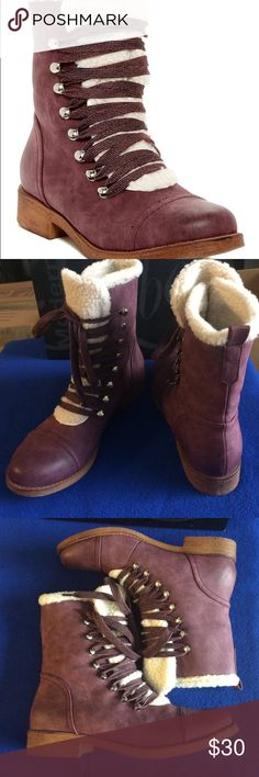 Modern Rebel Burgundy Lumberjack Boot Man made materials. Rubber sole made to look like wood. Warm and comfy. Only worn a few times. Modern Rebel Shoes Lace Up Boots