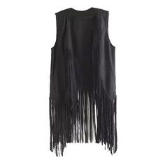Lapel Plain Open Front Tassel Sleeveless Vest (€19) ❤ liked on Polyvore featuring outerwear, vests, open front vest, sleeveless vest, lapel vest, sleeveless waistcoat and vest waistcoat