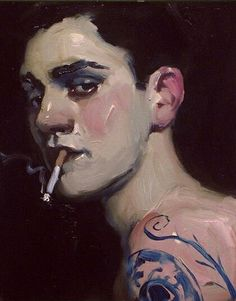 Daring you to look in a portrait entitled: Boy with Cigarette by American artist: Malcolm T Liepke.