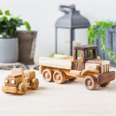 Custom Wooden Baby Toy Tow Truck - New Baby Gift and Vintage Toddler Toy This sturdy, well-made wooden toy is a classic loved by both little girls and boys alike. It is created by hand with ecologically clean wood and safe linseed oil. The surface is nice and smooth. This unpainted vehicle is