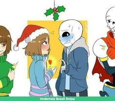 My part of an Art trade with MazePierrot They wanted some Sans and Frisk fluff, specifically under the mistletoe~ I added Chara and Papyrus for fun ^^ I. [ Art Trade ] Frisk and Sans fluff + Comic Undertale Comic, Sans X Frisk Comic, Frans Undertale, Undertale Ships, Undertale Fanart, Undertale Quotes, Dc Anime, Anime Meme, Toby Fox