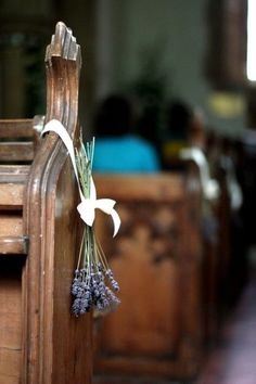 Last minute wedding ideas: lavender wedding church pew decor: head over to the flower shop (or grow your own lavender) and purchase some ribbons, and voila -- a simple, yet elegant accent for your ceremony venue. Wedding Church Aisle, Wedding Pews, Diy Wedding, Trendy Wedding, Lilac Wedding, Simple Church Wedding, Dried Lavender Wedding, Natural Wedding Flowers, Wedding Ribbons
