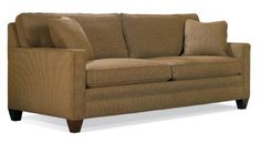 """Sherrill Furniture - Search Our ransitional H37 W80 D21 in. Semi-Attached Back Arm Height: 25 in. Overall Depth: 38 in. Approx. Seat Height: 19 in. Standard Finish: Brown Mahogany Also available in any """"Custom Line"""" finish. Standard Throw Pillows: 2"""