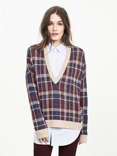 Plaid Vee Pullover