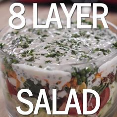 Layered Salad Recipe with perfect hard boiled eggs: Ree Drummond : Food Network Food Network Recipes, Cooking Recipes, Perfect Hard Boiled Eggs, Crudite, Tasty, Yummy Food, Calories, Soup And Salad, Salad Recipes