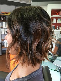 Rich Brown Short Curly Balayage