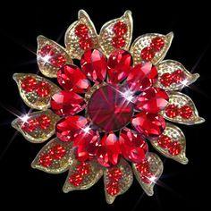 BIG Red Rhinestone Crystal Tear Drop Floral Flower Brooch pin Wedding BROOCH
