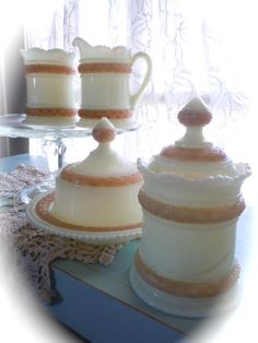 A beautiful set of Heisey custard glass pieces!  Antique Custard Glass 4 Piece Table Set  by LaChicVintageCloset, $145.00