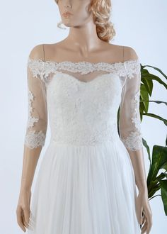 Lace wedding dress with off shoulder lace bolero by ELDesignStudio