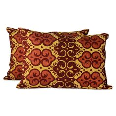 Novica Pair of Embroidered Cushion Covers, 'Mustard Field'