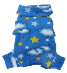Soft Fleece Clouds and Stars Turtleneck Bodysuit/Pajamas for Small Dogs - S Fabric Tape, Fleece Fabric, Large Dogs, Small Dogs, Turtleneck Bodysuit, Dog Pajamas, Long Legs, Dog Bed, Dog Toys