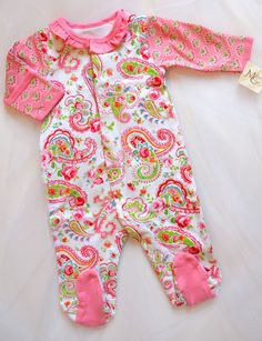 Pink paisley baby girls cotton footie by Maison Chic