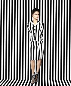 Photo by Erik Madigan Heck for Time. Bip is wearing a Marc Jacobs black and ivory striped satin gabardine jacket and skirt; Daniele Michetti black and white woven kid-leather Carina lace-up ­booties; and Eddie Borgo gold-tone Paradox earrings. Stripes Fashion, White Fashion, Op Art, Black Mode, Mode Camouflage, Fashion Shoot, Fashion Outfits, Jacob Black, Lace Up Booties