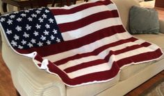 Afghan Blanket Throw  American Flag   MTO  Free by AllieBlankets... may want to find a separate pattern for the stars though