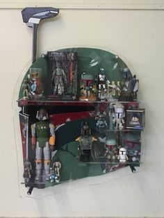 Boba Fett Helmet Display Shelf for Star Wars Figures and Collectibles Star Wars Crafts, Star Wars Decor, Star Wars Art, Star Trek, Boba Fett Helmet, Star Wars Boba Fett, Lego Boba Fett, Metal Clock, Metal Wall Art