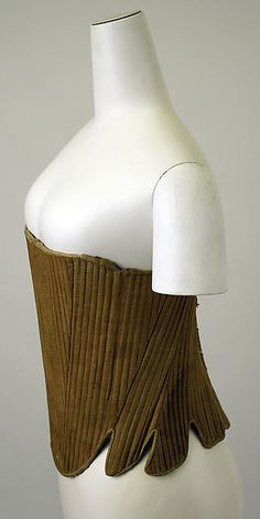 late 18th century Culture: American Medium: linen, wood Corset  looks like olive green linen to me.