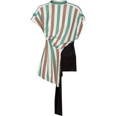 Loewe Open-back stretch-jersey and satin-jacquard top ($1,390) ❤ liked on Polyvore featuring tops, green, green top, tie necktie, loose tops, white top and loose white top
