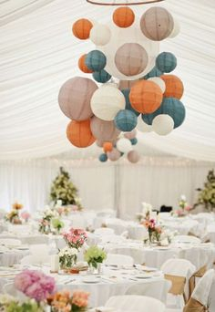 Chinese lanterns add a bit of whimsy to an all-white color palette.