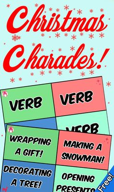 "Let's get festive and practice the parts of speech with a fun game of themed Christmas charades! Just hit print and you are good to with with double sided charade cards that are organized by verbs, nouns, and adjectives that are related to Christmas and the winter season. All cards are in full vibrant color.  *Be sure to hit ""print double sided"" for the full effect!  Includes: - 20 Christmas Themed words categorized by parts of speech - Parts of speech cheat sheet"