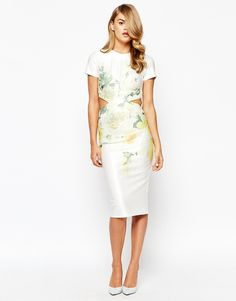 Image 2 ofTrue Violet Open Back Midi Pencil Dress In Overscale Floral Print