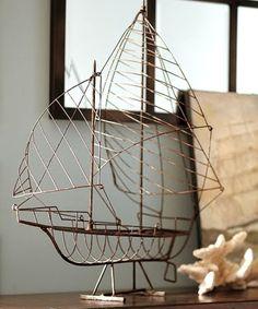 Wire boat sculpture