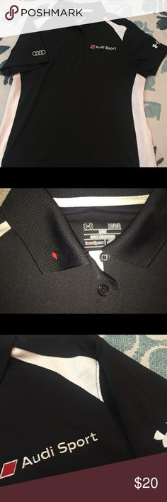 UA AUDI SPORT HEAT GEAR WOMENS POLO UNDER ARMOUR This is a unique Audi Sport polo representing the all new Audi Sport brand. Rhombus lapel pin included. Only worn once for an event. Audi rings on one sleeve, UA logo in the other. Under Armour Tops Button Down Shirts